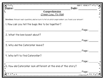 First Grade Reading Wonders Lesson Plans and Extra Activities Unit 4 Week 4