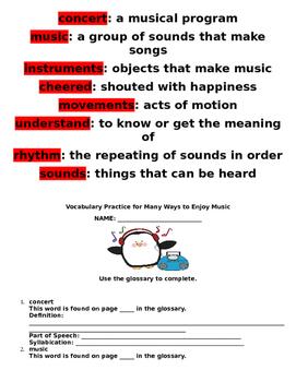 Reading Wonders Many Ways We Enjoy Music Literature Packet