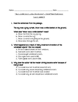 """Reading Wonders ~ """"Mary Anderson's Great Invention"""" Close Read Questions"""