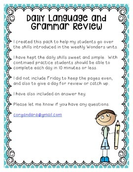 Reading Wonders Grade 2 - Unit 1 - Morning Work - Language and Grammar