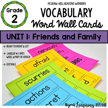 Reading Wonders Vocabulary Word Wall Cards Grade 2 Unit 1