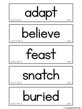 Reading Wonders Vocabulary Word Wall Cards Grade 2 Unit 2
