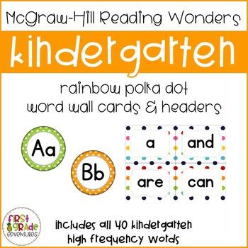 Reading Wonders Polka Dot High Frequency Word Wall Cards-Kindergarten [Editable]