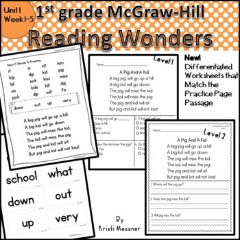 McGraw Hill Wonders  First Grade Practice Page Unit 1 Week 1-2