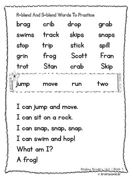 McGraw Hill Wonders First Grade Practice Page Unit 1 Weeks 4-5