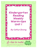 Kindergarten Reading Weekly Warm-Ups Unit 1