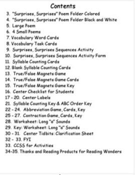 Reading Wonders  Reading Wonders Literacy Centers Unit 3 Week 1