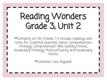 Reading Wonders Resources, Grade 3: Unit 2
