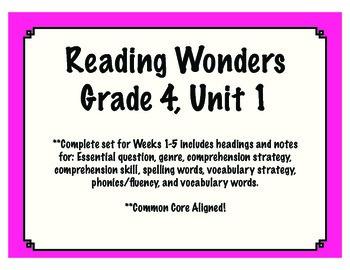 Reading Wonders Resources, Grade 4: Unit 1