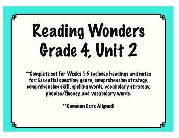 Reading Wonders Resources, Grade 4: Unit 2