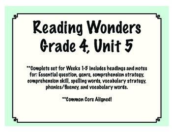 Reading Wonders Resources, Grade 4: Unit 5