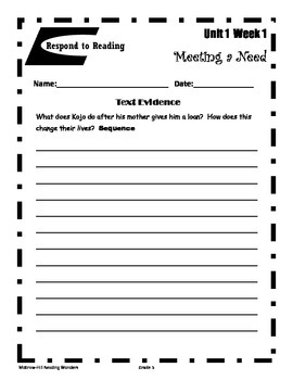 Reading Wonders- Respond to Reading Unit 1-1 Gr.5