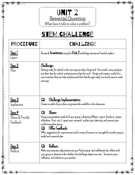 Reading Wonders STEM Challenge: Grade 3 Unit 2