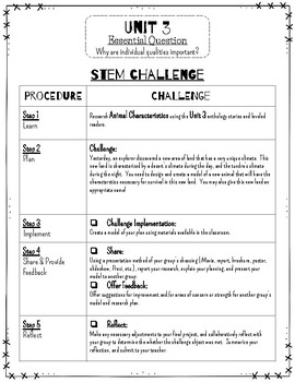 Reading Wonders STEM Challenge: Grade 3 Unit 3