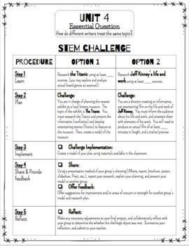 Reading Wonders STEM Challenge: Grade 4 Units 1-6