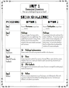 Reading Wonders STEM Challenge:  Unit 1 Grade 4