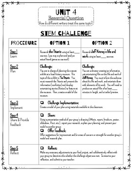 Reading Wonders STEM Challenge: Unit 4 Grade 4
