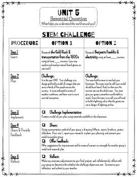 Reading Wonders STEM Challenge: Unit 5 Grade 4