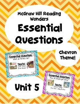 Reading Wonders Second Grade Essential Questions - Unit 5, Chevron Theme