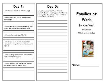 Reading Wonders Second Grade Leved Reader Brochures Unit 1 Week 5