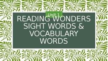 Reading Wonders Second Grade Speedy Words Presentation Unit 1
