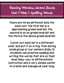 Reading Wonders Second Grade Unit 3 Week 3 Spelling Cards