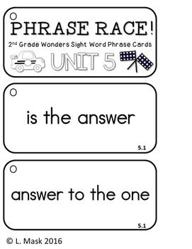 Reading Wonders - {Second Grade} - Unit 5 Phrase Race! Sight Word Phrase Cards