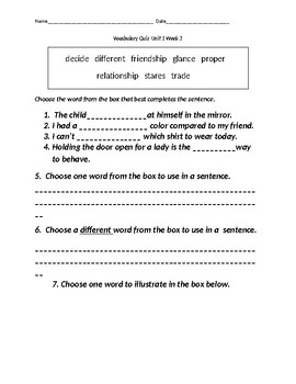 Reading Wonders Second Grade Vocabulary Quizzes-ENTIRE year