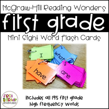 Reading Wonders Sight Word Mini-Flash Cards [First Grade]