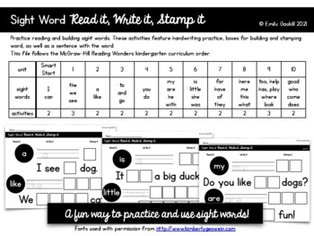 Reading Wonders Kindergarten Sight Word Read it, Write it, Stamp it