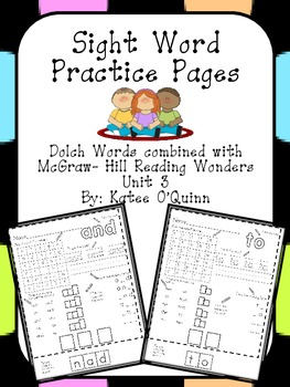 Reading Wonders Sight Words Unit 3