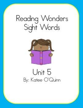 Reading Wonders Sight Words Unit 5