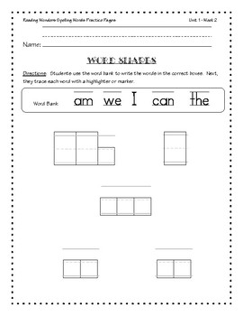 Reading Wonders Spelling Practice Pages for Kindergarten - Units 1-5