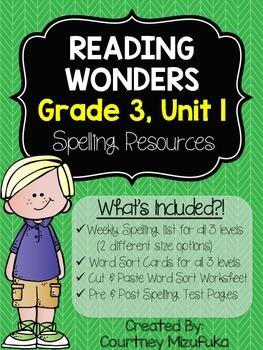 Reading Wonders Spelling Resources {Grade 3, Unit 1}
