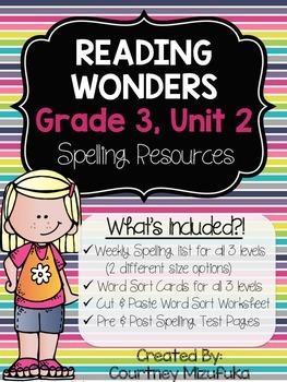 Reading Wonders Spelling Resources {Grade 3, Unit 2}