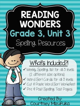 Reading Wonders Spelling Resources {Grade 3, Unit 3}