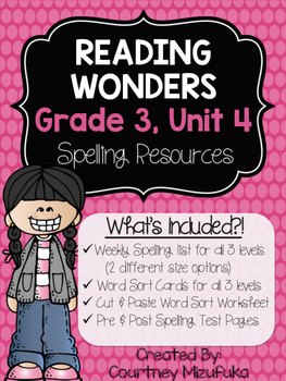 Reading Wonders Spelling Resources {Grade 3, Unit 4}