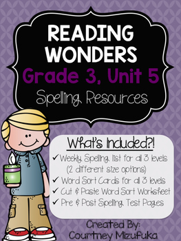 Reading Wonders Spelling Resources {Grade 3, Unit 5}
