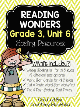 Reading Wonders Spelling Resources {Grade 3, Unit 6}