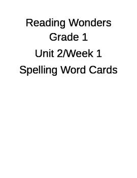 Reading Wonders Spelling Word Cards Unit 2