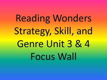 Reading Wonders - Strategy, Skill, and Genre Unit 3 & 4 - Focus Wall - 3rd Grade