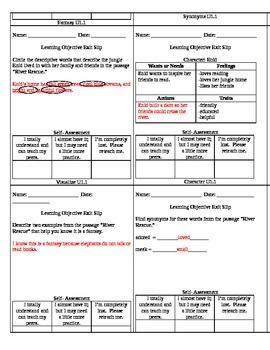 Reading Wonders Unit 1 Grade 3 Objective Checks