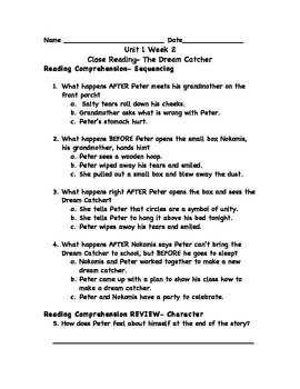 Dream Catcher Worksheet Reading Wonders Unit 40 Workshop Worksheets by Mandi Brian TpT 18