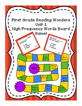 Reading Wonders Unit 1 High Frequency Word Board Game!