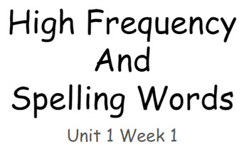 Reading Wonders Unit 1 High Frequency and Spelling Words Fitness