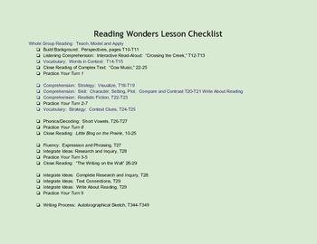 Reading Wonders Unit 1 Lesson Checklists