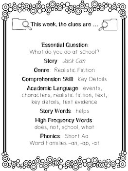 1st Grade Reading Wonders Unit 1 Week 1 Guided Reading & Analytical Writing Pack