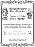 1st Grade Reading Wonders Unit 1 Week 1 Guided Reading & A