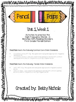 Reading Wonders Unit 1 Week 1 Pencil Pairs *** WITH 25 BON