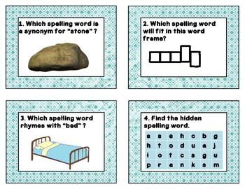 Reading Wonders Unit 1, Week 2 Spelling Words Task Cards